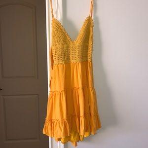 mini yellow back tie dress
